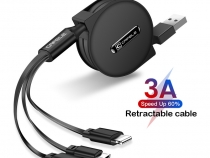 Кабель-рулетка для зарядки 3 в 1 USB - Lightning / Type-C / Micro USB 120 см
