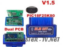 Автосканер ELM327 Bluetooth v1.5 чип PIC18F25K80 (2 платы)
